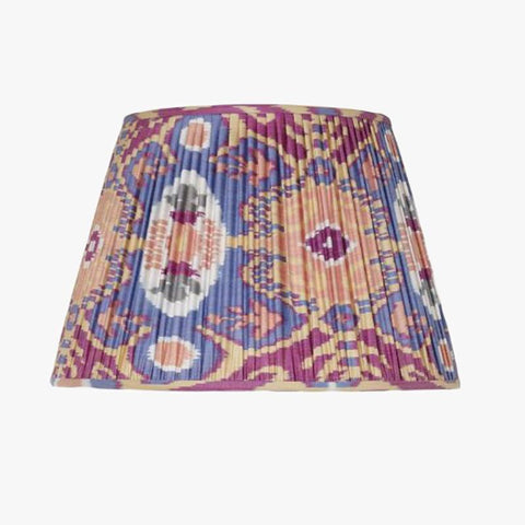 BLUE AND PEACH SILK IKAT LAMPSHADES - Villa Yasmine