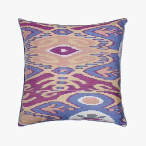 BLUE AND PEACH SQUARE CUSHION COVER - Villa Yasmine