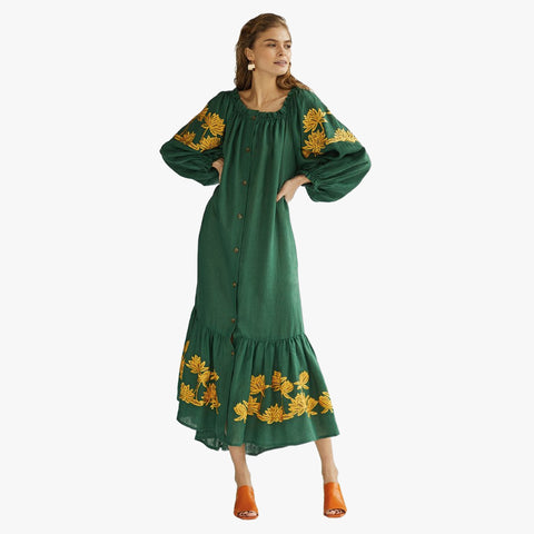 Back to Nature Off-Shoulder Green Dress - Villa Yasmine