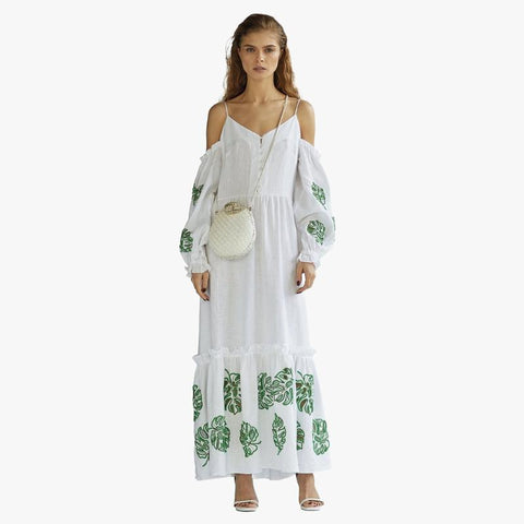 Bali Long Sleeve V-neck Linen White Dress - Villa Yasmine