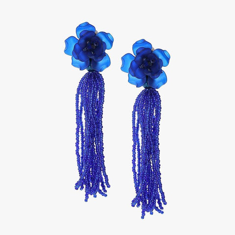 Bead Tassel Long Blue - Villa Yasmine