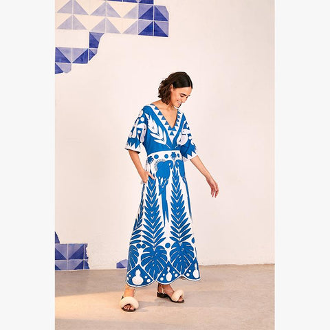 Blue Patchwork Embroidered Dress - Villa Yasmine