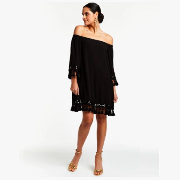 Cha Cha Tassel Dress - Black - Villa Yasmine