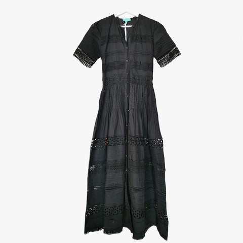 Camila Lace Cotton Long Dress Black - Villa Yasmine
