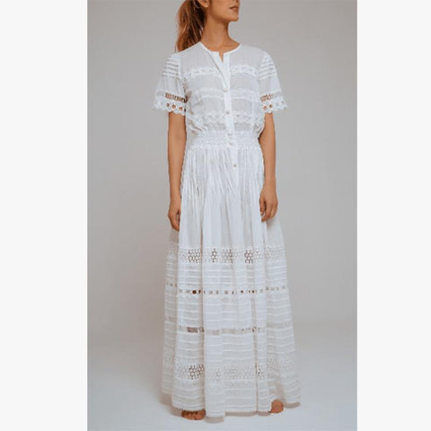 Camila Lace Cotton Long Dress Ivory - Villa Yasmine