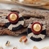 Capella Earrings - Burgundy/Black - Villa Yasmine