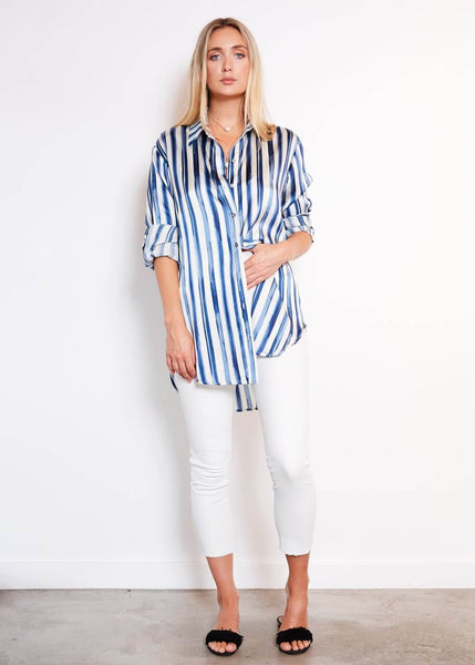 Eric Shirt Painted Blue Stripe Print