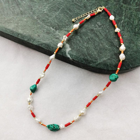Freshwater Pearls Turquoise Red Corals African Beads - Villa Yasmine