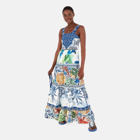 Blue Tile Maxi Dress - Villa Yasmine
