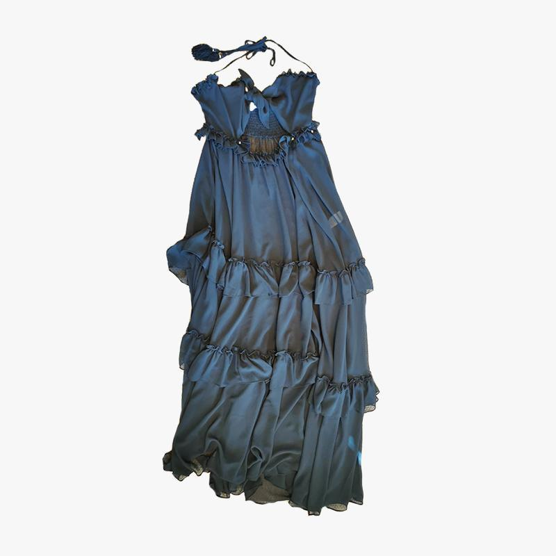 Flora Frill Dress Sheer Chiffon Black - Villa Yasmine