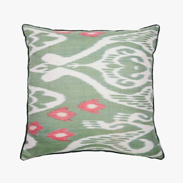 GREEN AND PINK SQUARE CUSHION COVER - Villa Yasmine