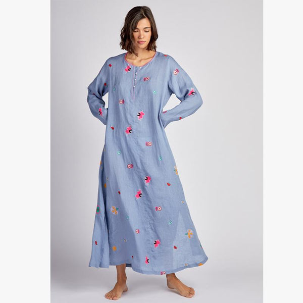 Hollylock Dress Uzbekistan Flower Embroidered Blue - Villa Yasmine