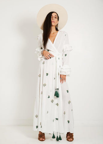Maxi Cardigan Embroidered Cactuses Print