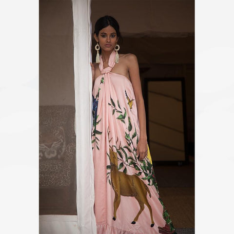 Non Embroidered Haltered Maxi - Blush Tiger Panel - Villa Yasmine