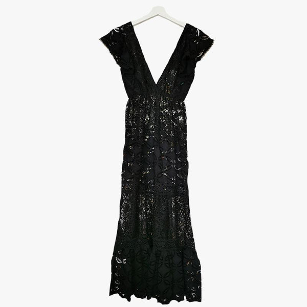 Nicole V-neck Lace Long Dress - Villa Yasmine