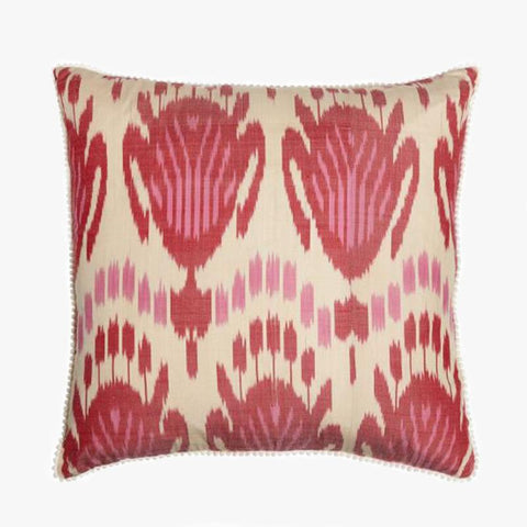 PINK AND RED SQUARE CUSHION COVER - Villa Yasmine