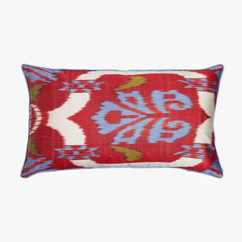RED AND BLUE RECTANGULAR CUSHION COVER - Villa Yasmine