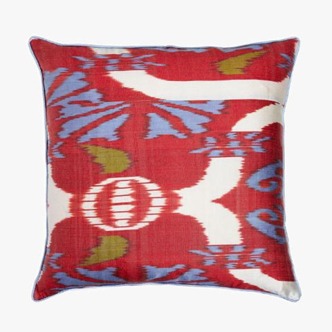 RED AND BLUE SQUARE CUSHION COVER - Villa Yasmine