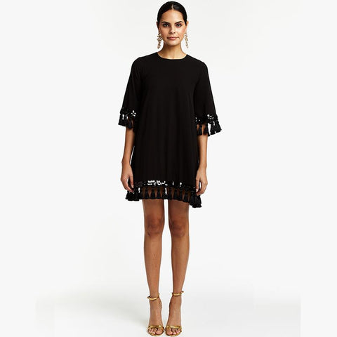 Shimmy Shimmy Tassel Dress - Black - Villa Yasmine