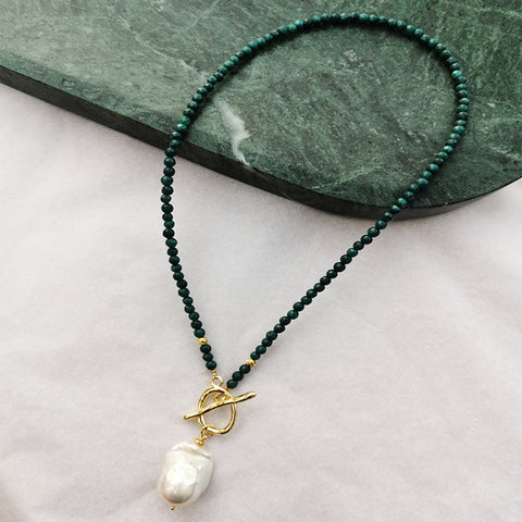 Teal Agate with Pendant Toggle Clasps - Villa Yasmine