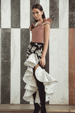 Wrap Skirt Black/White - Villa Yasmine