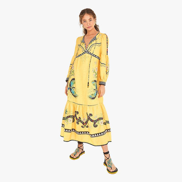 Yellow Borogodo Linen Dress - Villa Yasmine
