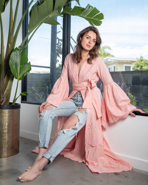 Bell Sleeve Maxi Cardigan Embroidered Desert Pink