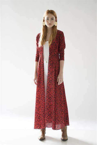 Maxi Cardigan Cheetah Red/Black Print - Villa Yasmine
