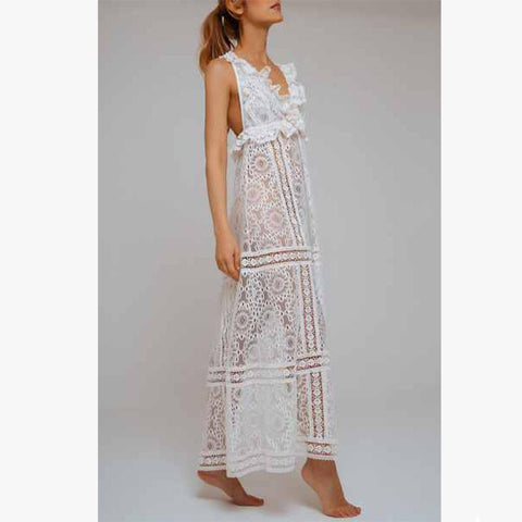 Chic Escape Lace Dress Ivory - Villa Yasmine