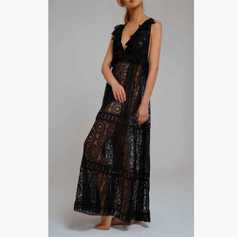 Chic Escape Lace Dress Black - Villa Yasmine