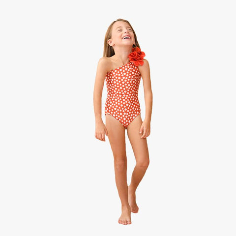 Arahuac Onepiece Mini Red Polka Dark Orange - Villa Yasmine