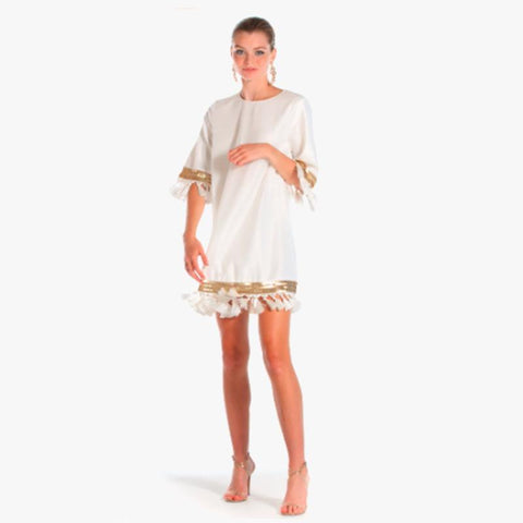 Shimmy Shimmy Tassel Dress - Ivory Gold - Villa Yasmine