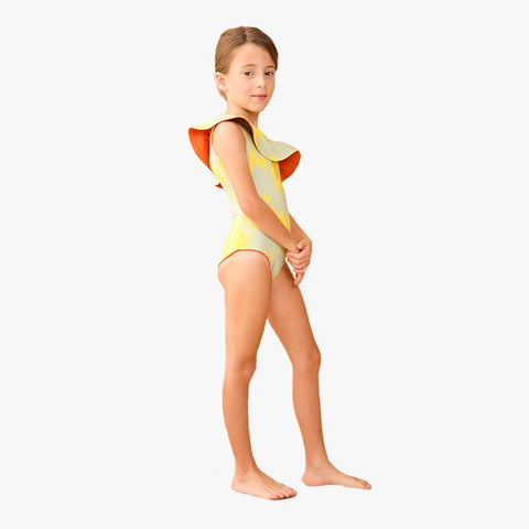 Tucan Onepiece Mini Lime Palms Dark Orange - Villa Yasmine