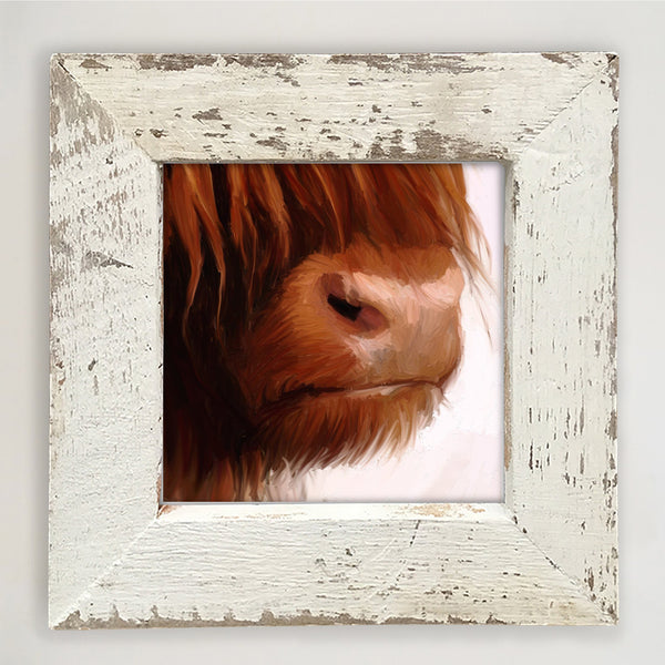 Highland Cow Face Small / White