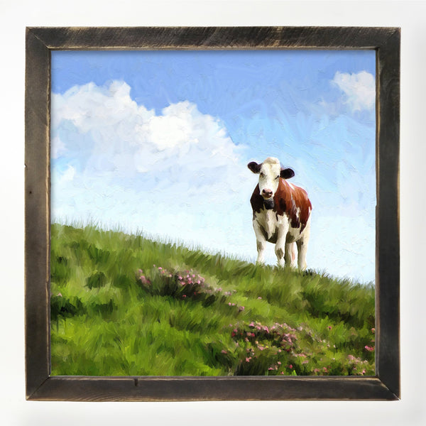 Cow in the grass field XL / Black