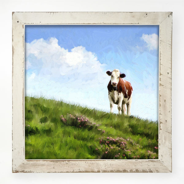 Cow in the grass field XL / White
