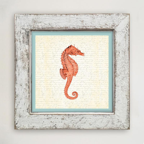 Sea Horse - Coral Large / White