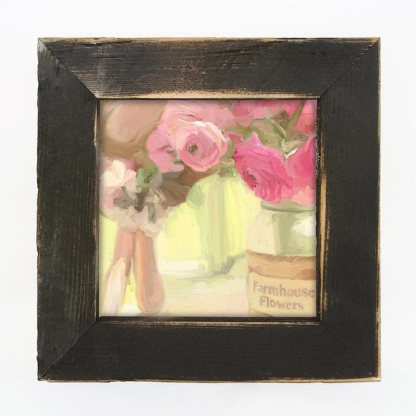 Pink Farmhouse Flowers Small / Black