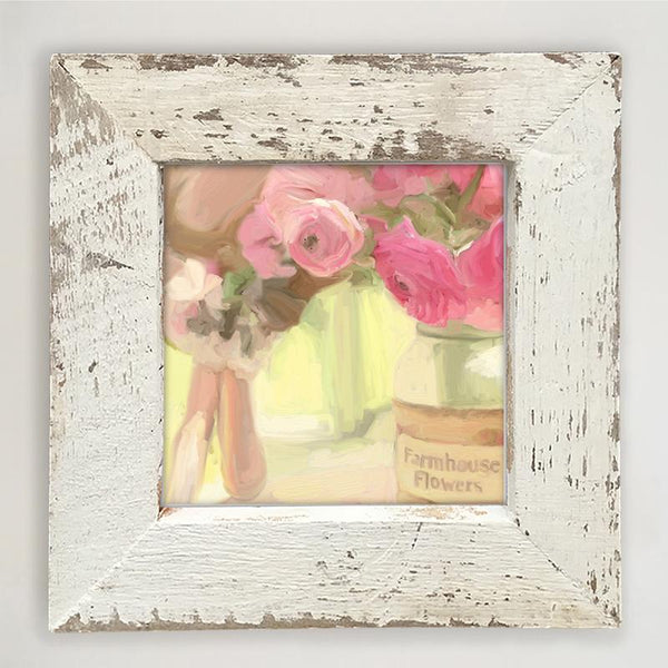 Pink Farmhouse Flowers Small / White