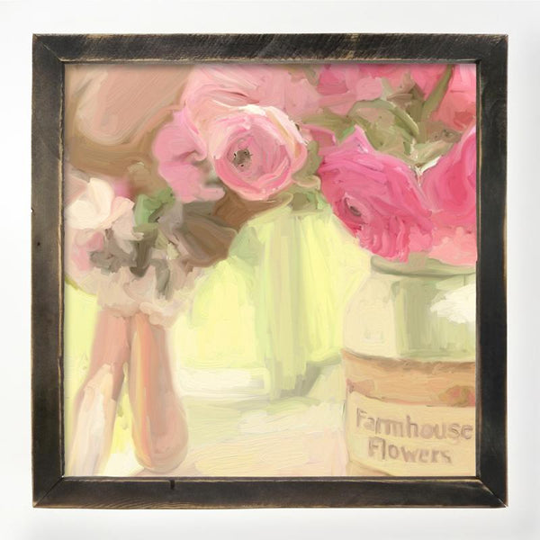Pink Farmhouse Flowers XL / Black