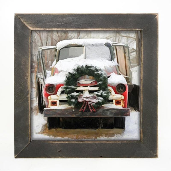 Chevy Truck with wreath Large / Black