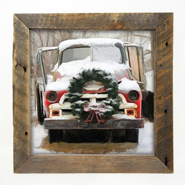 Chevy Truck with wreath Large / Natural
