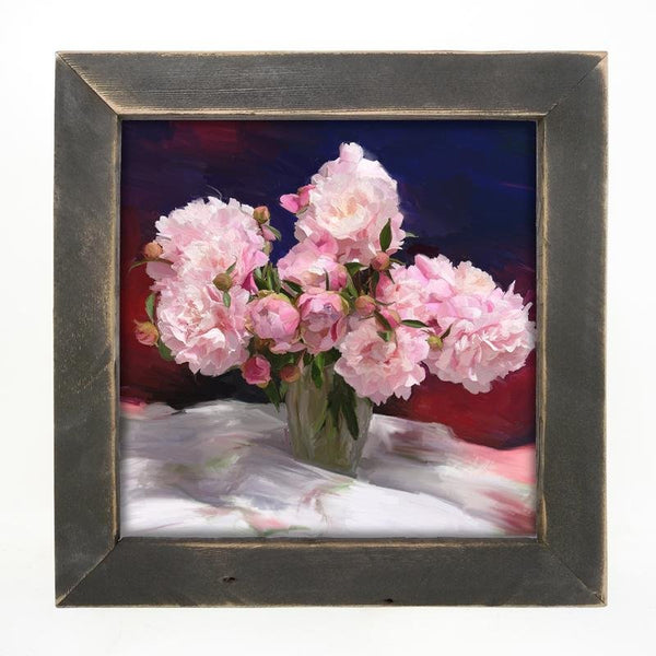 Springtime Bouquet of Peonies Large / Black