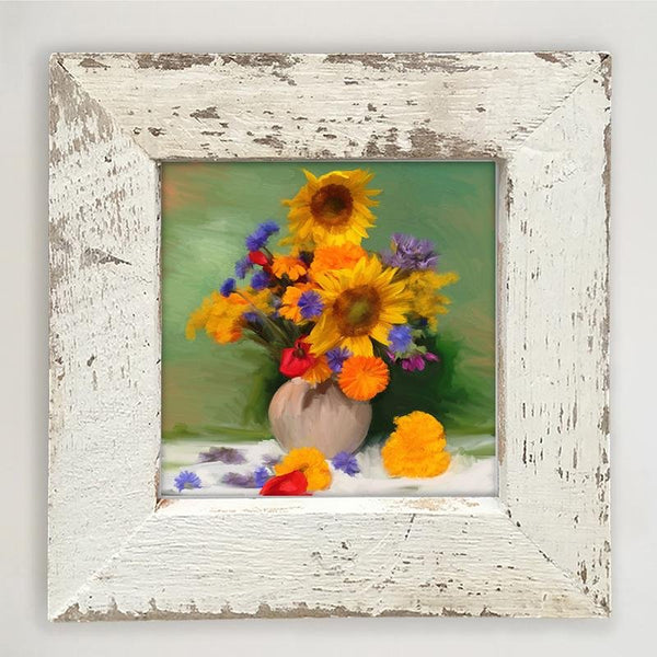 Springtime Bouquet of Sunflowers Small / White