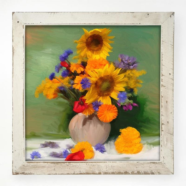 Springtime Bouquet of Sunflowers XL / White