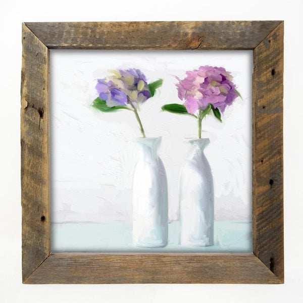 Hydrangeas in white vase Large / Natural
