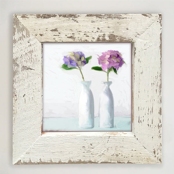 Hydrangeas in white vase