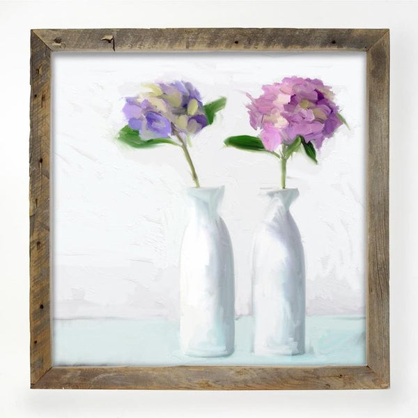 Hydrangeas in white vase XL / Natural