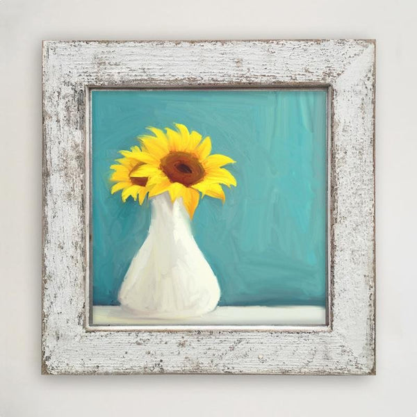 Sunflowers in white vase Large / White