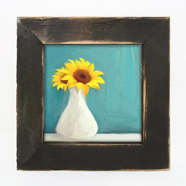 Sunflowers in white vase Small / Black